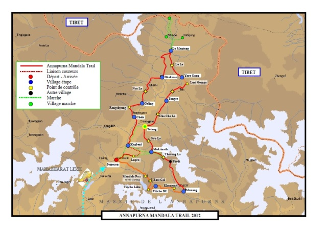 course map of the AMT 2012 - Mustang source: http://www.leschevaliersduvent.fr/annapurna-mandala-trail/amt-2012
