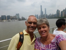 on a ferry across the Huangpu river (Pudong's Manhattan and the Bund in the background) @ Marjan Slaats