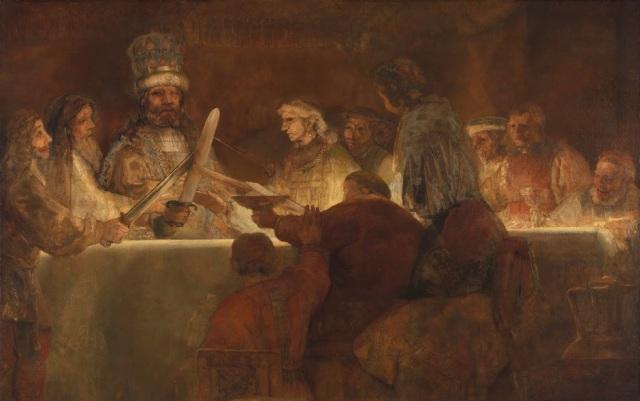 Rembrandt van Rijn, 'The Conspiracy of the Batavians under Claudius Civilis' (1661-62). The Royal Academy of Fine Arts, Sweden source: https://www.rijksmuseum.nl/en/claudius-civilis