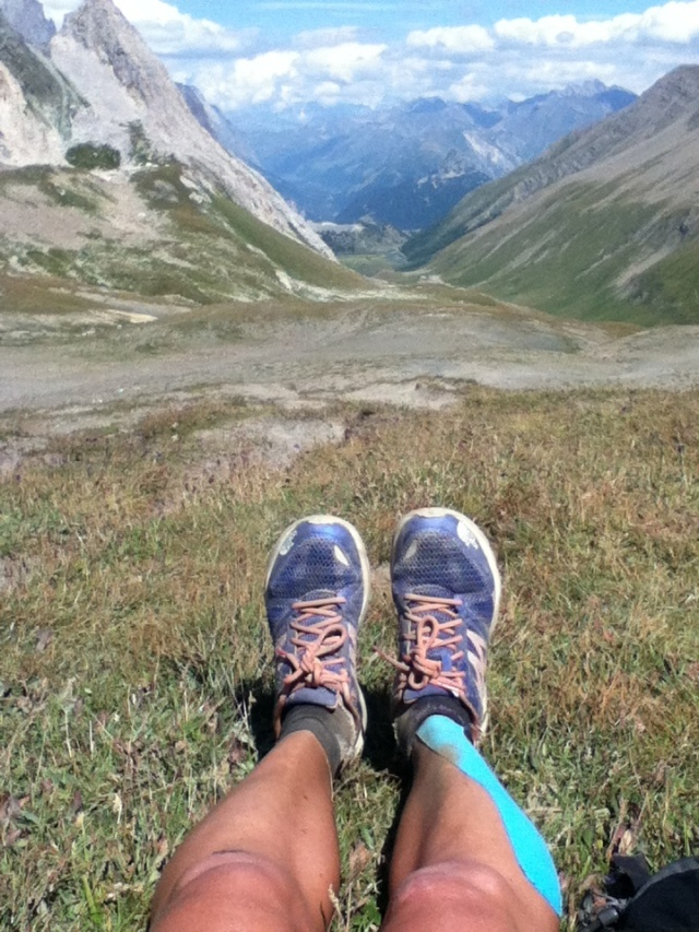 Lizzy Training on the UTMB route in 2012 Credit: Lizzy Hawker