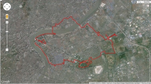 big Pudong circuit with a short Shanghai detour when clicking throigh to everytrail.com: use satellite view without labels for a correct depiction of the route