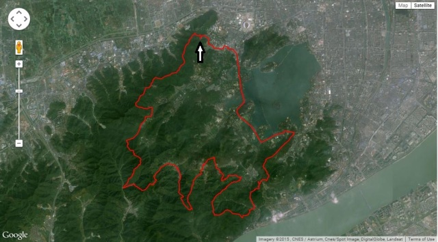 Running Hangzhou hills West and South of West Lake Use satellite view without labels to get a correct picture of the track