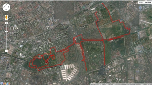 click on the image to link to the everytrail site where this track is posted for zoom in/out possibilities. Make sure to use satellite view without labels (see upper right hand corner ). Chinese government censorship displaces GPS tracks approx. 250 meters when projected onto maps.