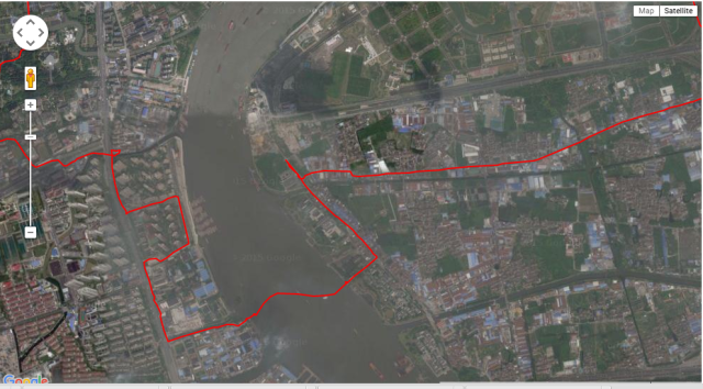 click on image to go to everytrail where you can zoom in/ot. Make sure to use satellite view without labels for the correct placement of the track on the imagery. Chinese government censorship ensures tracks are approx 250 meters off-mark when using google maps